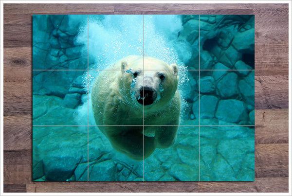 Polar Bear Swimming - Ceramic Tile Mural