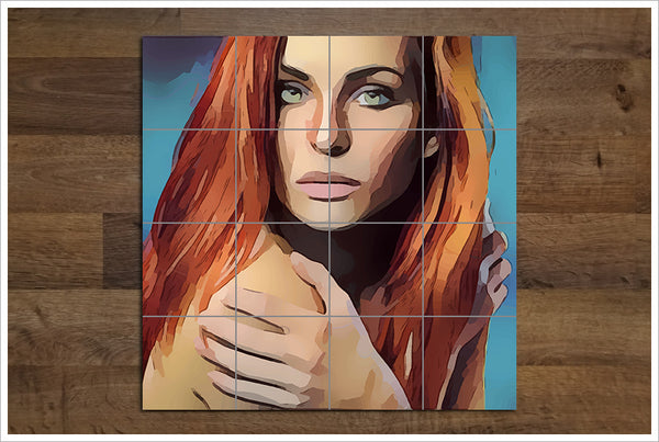 Redhead Woman Abstract -  Tile Mural
