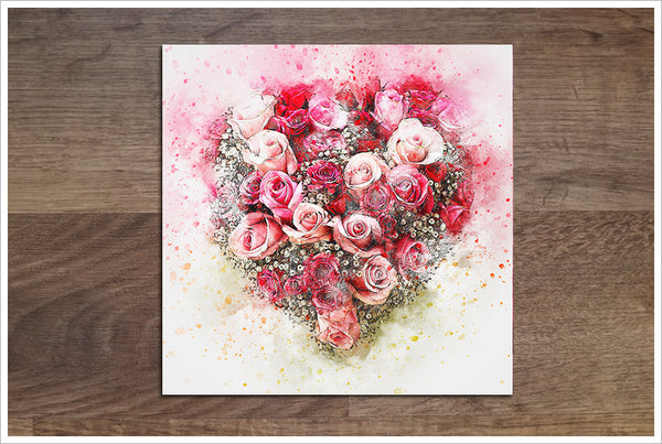 Rose Heart Watercolor -  Accent Tile