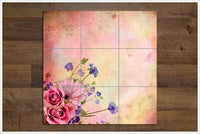 Flowers on Pink Background -  Tile Mural