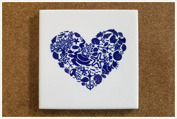 Sea Life Heart - Ceramic Tile Accent