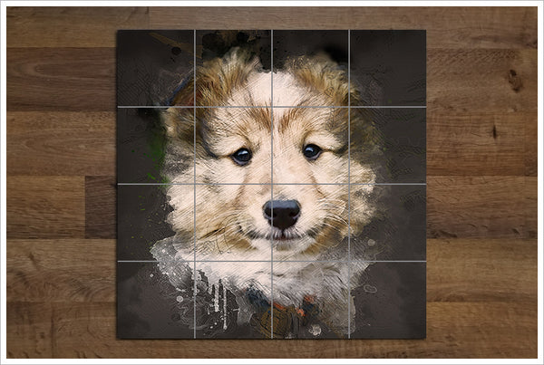 Sheltie Mixed Media -  Tile Mural