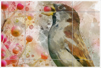 Sparrow Berry Watercolor -  Tile Mural