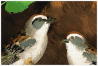 Sparrows Oil Painting - Ceramic Tile Mural