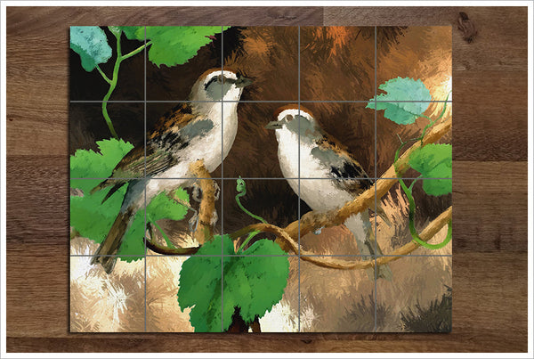 Sparrows Oil Painting -  Tile Mural