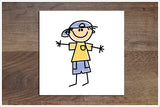Stick Figure Kids 6 Designs - Ceramic Accent Tile