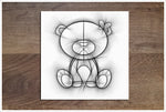 Teddy Bear Pencil Sketch -  Accent Tile