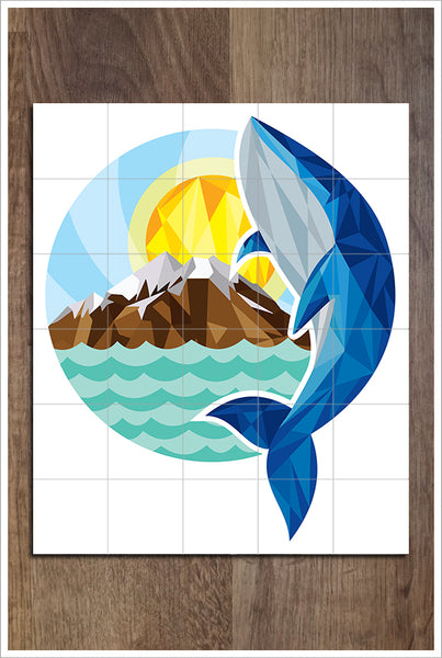 Whale & Mountains Polygon Art -  Tile Mural