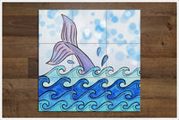Whale Tail & Waves Painting - Ceramic Tile Mural