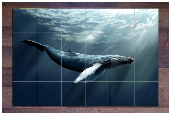 Whale Painting - Ceramic Tile Mural