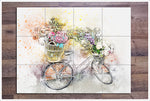 White Bicycle Watercolor Painting -  Tile Mural
