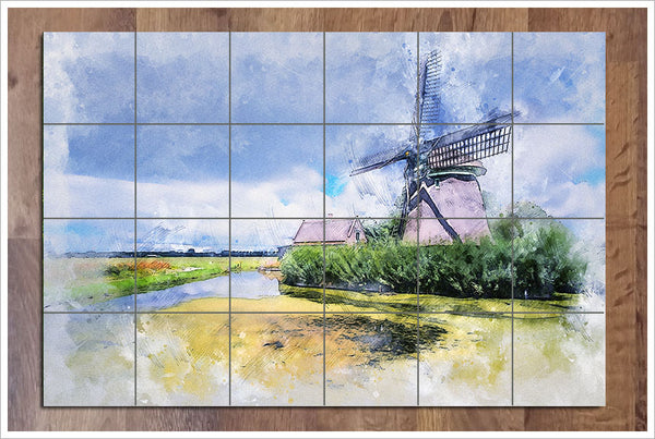 Windmill Watercolor -  Tile Mural