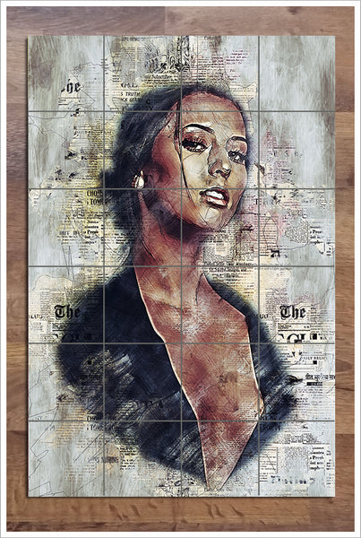 Woman Collage on News Print -  Tile Mural
