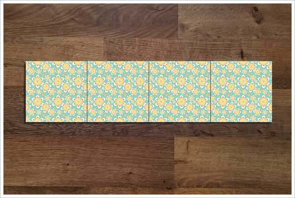 Yellow Daisy Flower Pattern -  Tile Border