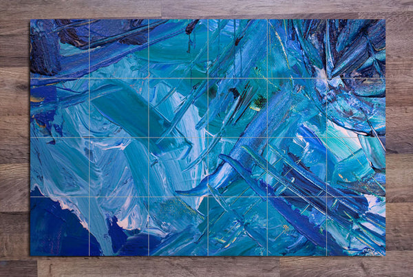 Blue Abstract Painting - Ceramic Tile Mural