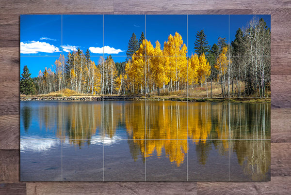 Autumn Trees River Reflection - Ceramic Tile Mural