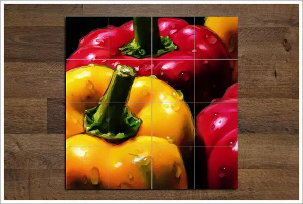 Bell Peppers Ceramic Tile Mural