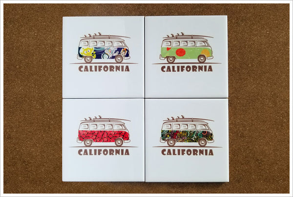 California VW Bus - Ceramic Tile Accent