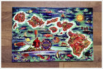 Vintage Hawaii Ceramic Tile Map