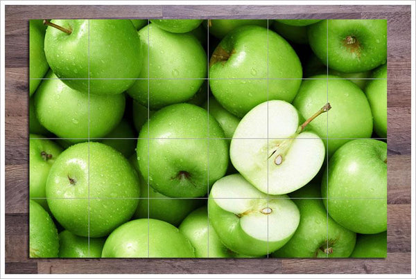Green Apples Ceramic Tile Mural