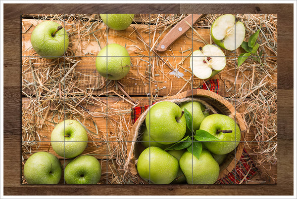 Green Apples on Cutting Board - Ceramic Tile Mural