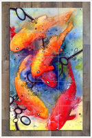 Koi Fish Watercolor -  Tile Mural