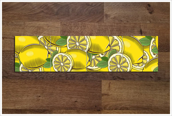 Vintage Woodcut Graphic Lemons - Ceramic Tile Border