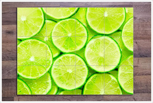 Lime Slices Ceramic Tile Mural