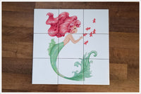 Mermaid Pink Hair Graphic - Ceramic Tile Mural