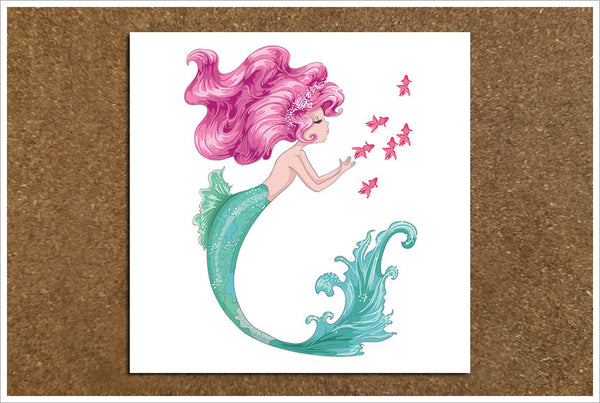 Mermaid with Pink Hair - Ceramic Accent Tile