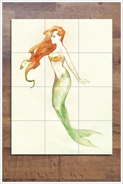 Mermaid Watercolor -  Tile Mural