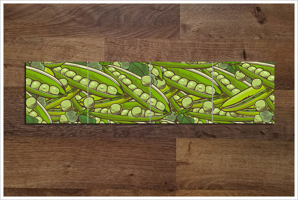 Vintage Woodcut Graphic Pea Pods - Ceramic Tile Border