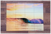 Surfing Wave Sunset Tile Mural