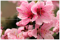 Pink Flowers on Tree Branch - Ceramic Tile Mural