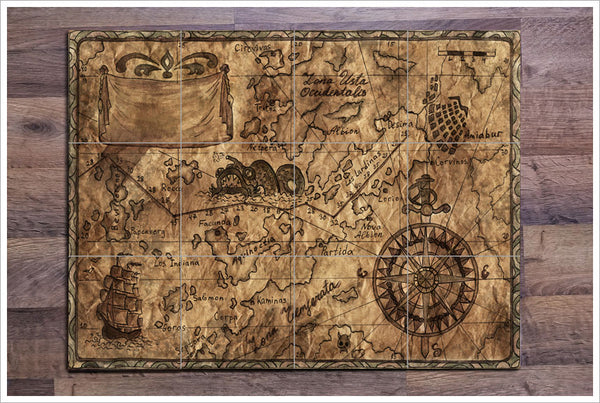 Pirate Map 03 - Ceramic Tile Mural