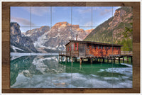 Winter Fjord River Cabin -  Tile Mural