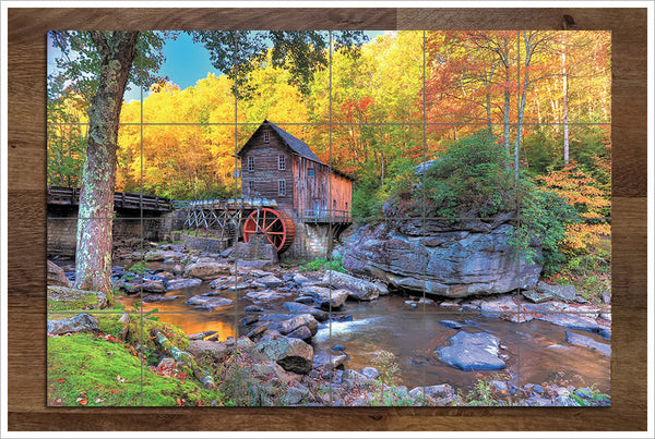 Saw Mill with Autumn Trees - Ceramic Tile Mural
