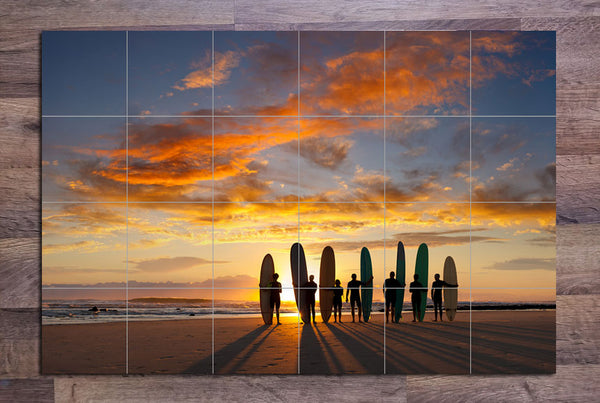 Sunset Local Surfers -  Tile Mural