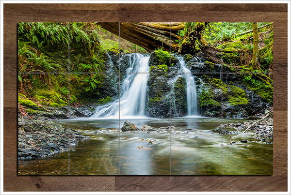 Twin Waterfalls - Ceramic Tile Mural