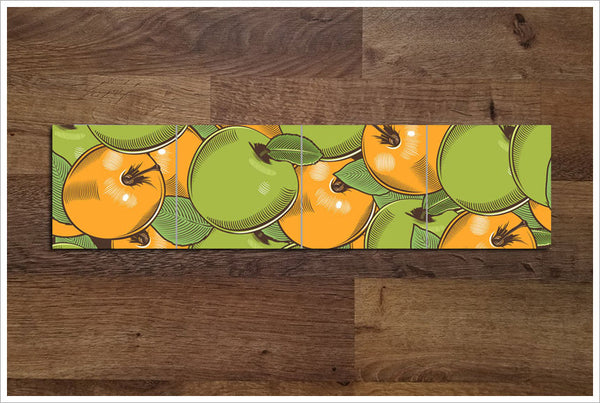 Vintage Woodcut Graphic Apples - Ceramic Tile Border