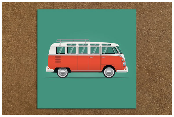 VW Van Drawing Any Color -  Tile Accent