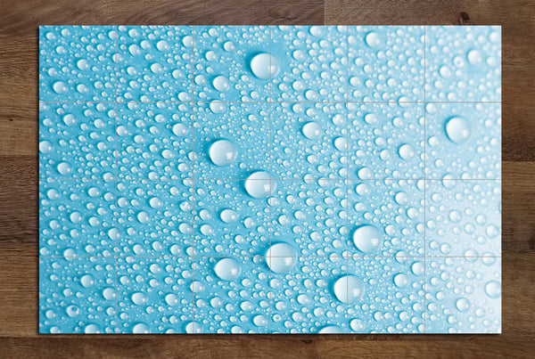 Water Drops on Blue - Ceramic Tile Mural