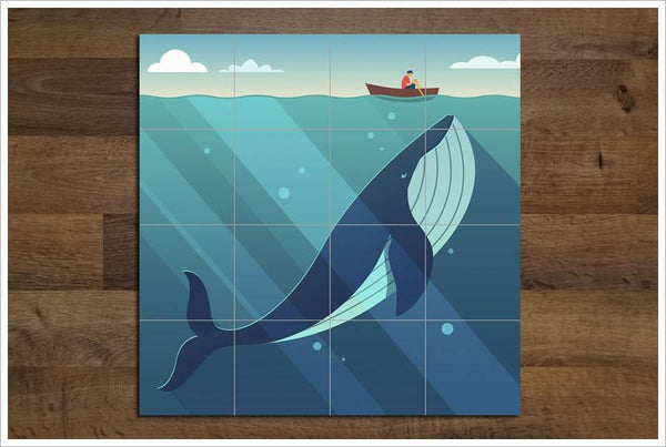 Whale Fisherman Ceramic Tile Mural