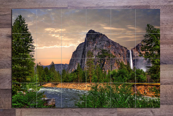 Yosemite Waterfall - Ceramic Tile Mural