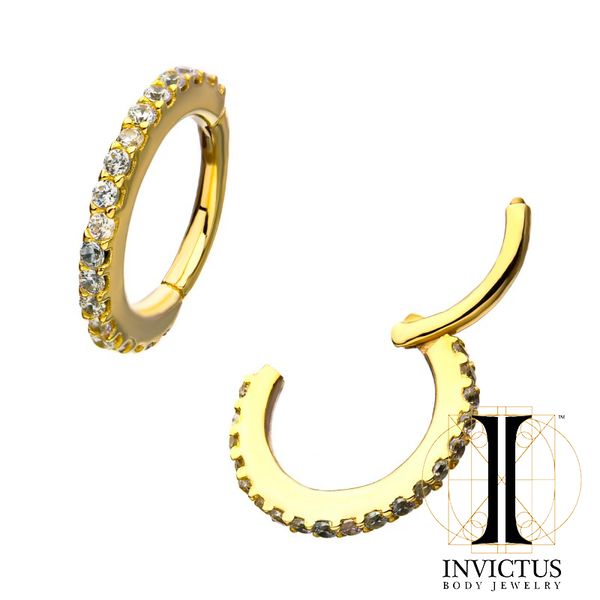 18g 14kt Gold with Multi-Clear CZ Hinged Segment Ring