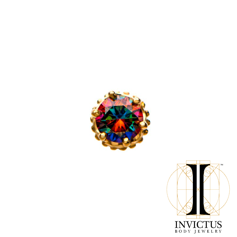 14kt Gold Threadless Crown Set CZ Gem Top