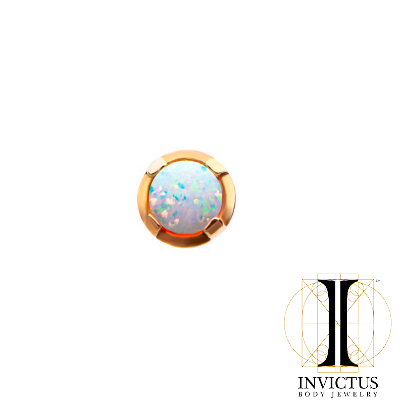 14Kt Yellow Gold Threadless Prong Set Opal Top