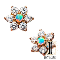 14kt Rose Gold Threadless 6-Clear CZ with White Opal at the Center Flower Top