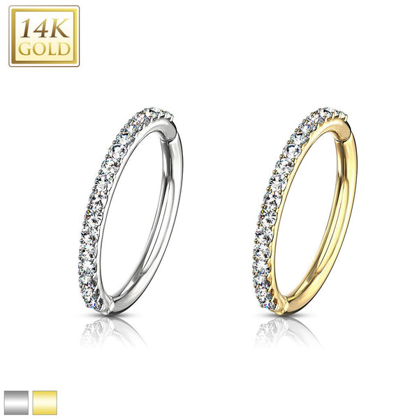 16G - 14Kt Side CZ Paved Half Circle Hinged Segment