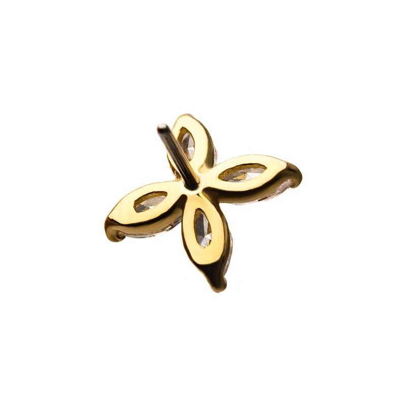 14kt Gold Threadless Flower Ends